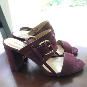 Banana Republic Maroon Suede Heels, Gold Buckle